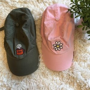 Life is Good Women Baseball Hat Pair Daisy Coffee